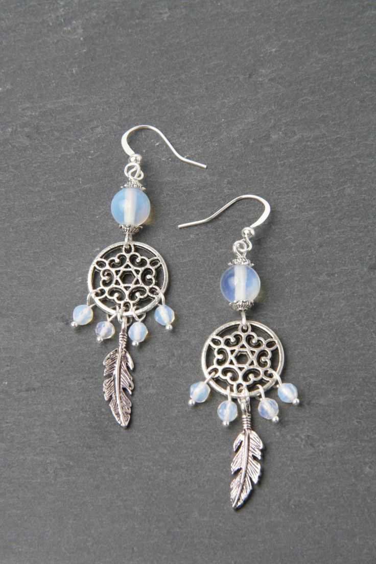 Dreamcatcher Earrings, Moonstone Earrings, Feather Earrings, Silver And  Moonstone Jewelry, Made In