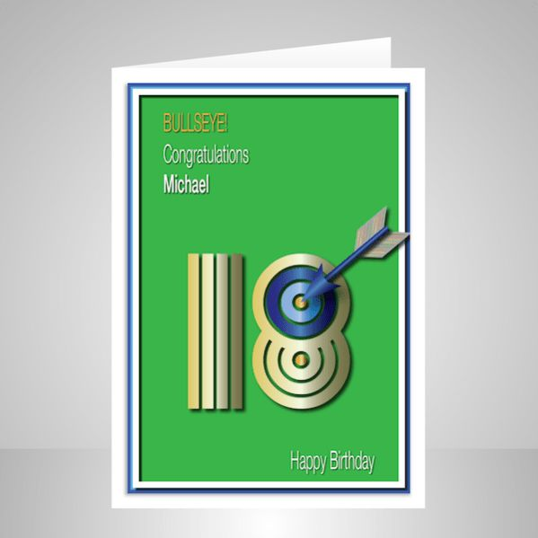 This 18th happy birthday card marks a significant target in a person's life. A fantastic card for your sporty son, nephew, brother, grandson or friend. An arrow has hit the target 18 birthday and s…
