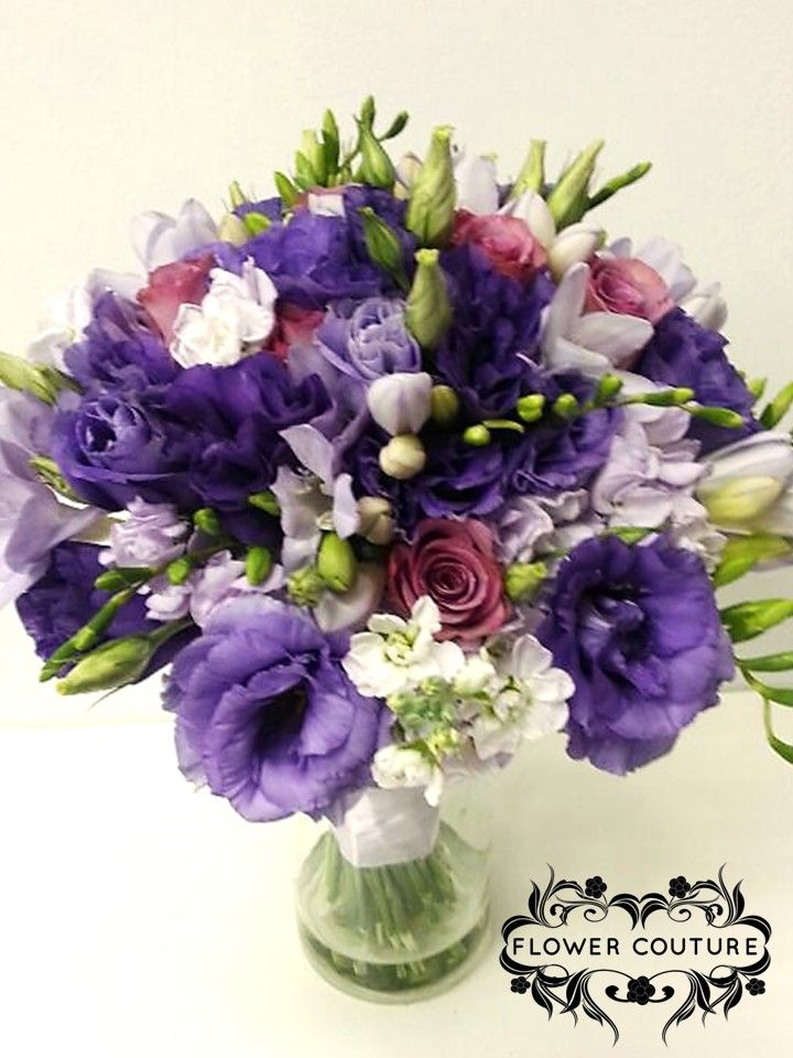 Bridal bouquet - dark purple eustoma, light purple eustoma ...