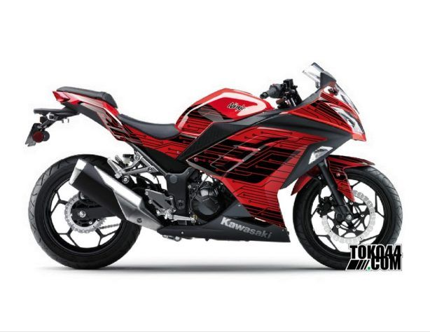 Decal Sticker Modifikasi Kawasaki Ninja 250 Fi Merah - Techno V3 Red