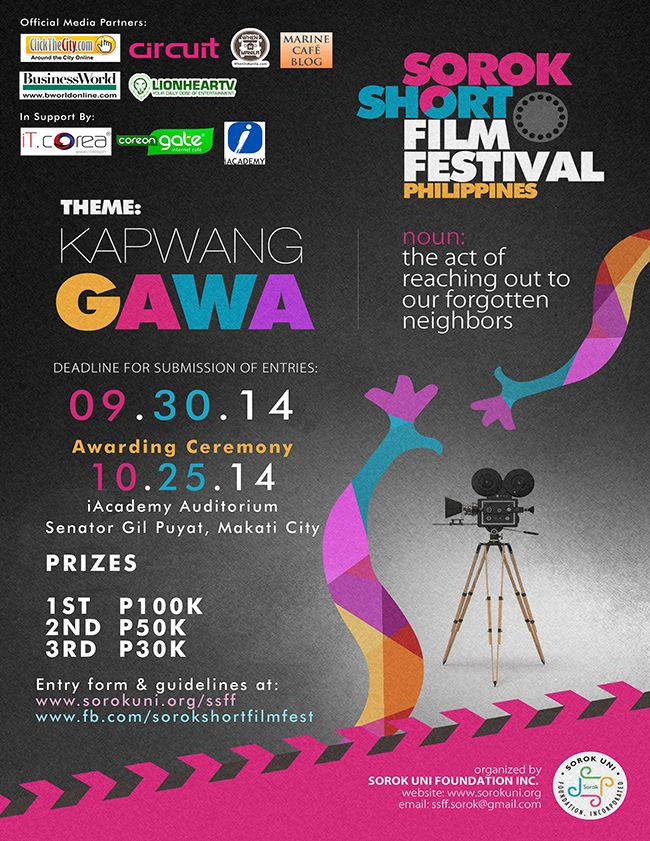 Sorok Short Film Festival Philippines: Kapwang Gawa   Sorok Uni Foundation, Inc., a humanitarian organization working for and with the persons affected by #leprosy (PALs) in erasing the stigma on our forgotten neighbors, invites all amateur and professional film makers to join Sorok Short Film Festival (SSFF) – a short film competition that aims to…