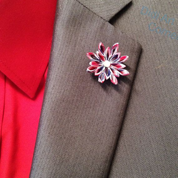 4th of July Lapel Pin RedWhite and Blue Elegant by DidiArtCorner