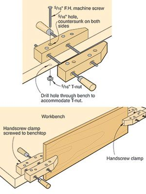 Handscrew clamp stands in for vise