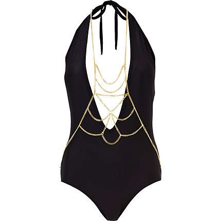 Black body jewellery halter neck swimsuit / River Island