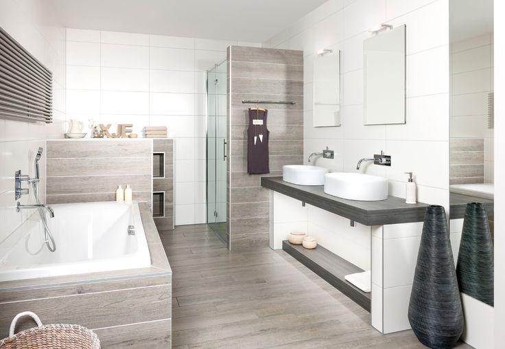 Grando ontwerpt en levert ook uw badkamer.Een relaxruimte in uw eigen huis, wat wilt u nog m eer. De prachtige schaalvormige wasbakken komen perfect uit op het houten badmeubel.
