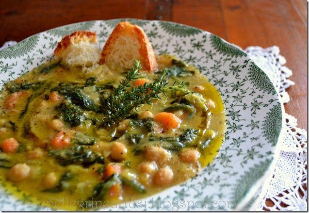 Le pellegrine Artusi: Zuppa di ceci e spinaci con pepolino