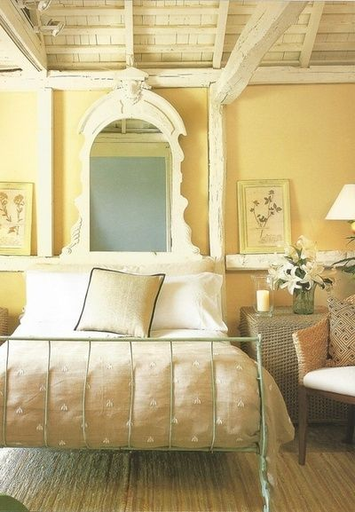 yellow wall. White bedding.                                                                                                                                                     More