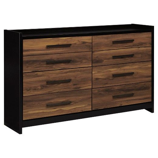 Ultra-modern and clean lined, This dresser is a mastery in the art of simplicity. Unique two-tone treatment blends a rich, replicated cherry finish with contrasting black for urban industrial flair with an earthy sensibility. Sleek bronze-tone pulls tie in beautifully with the linear look. Signature Design by Ashley is a registered trademark of Ashley Furniture Industries, Inc.