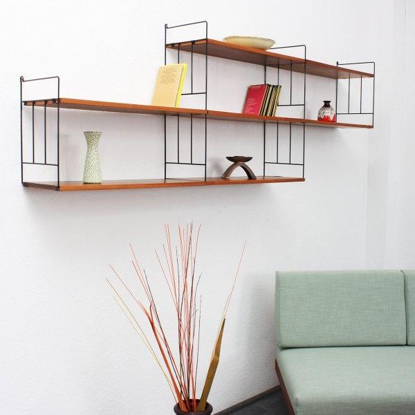 sideboards + regale 60er modulares Wandregalsystem, Nussbaum (Nr. 4810-A) Karlsruhe Velvet-Point