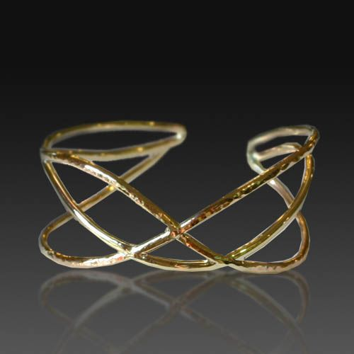 three wire crossover cuff bracelet with hammer texture