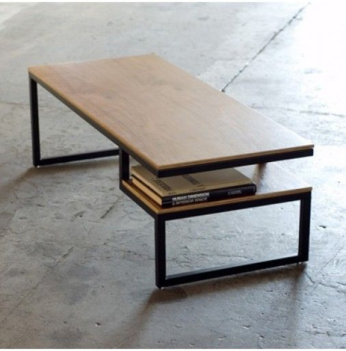 Gus Modern Ossington Coffee Table Walnut Ply with Black Base