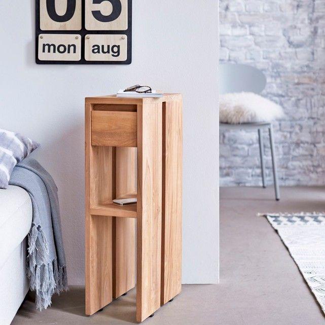 Découvrez ce chevet en teck de la marque Tikamoon ! Quand élégance rime avec simplicité, ce chevet en bois massif apportera à votre chambre une touche sophistiquée et originale. Sa teinte claire naturelle offrira à votre intérieur une pointe de douceur. Côté pratique, cet élégant chevet en teck dispose d'1 tiroir et d'un petit plateau. Informations Produit : Matière : Teck Dimensions : H 70 x L 20 x P 35 cm Poids : 10 kg Info : Dos et fond de tiroir en contreplaqué de teck. 1 tiroir ...