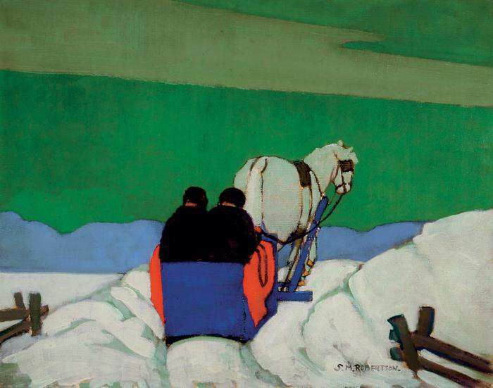 The Blue Sleigh, oil on canvas 1924, by Sarah Robertson (1891-1948).