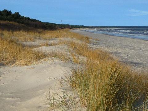 Ostseebad Trassenheide auf Usedom: Sandstrand Ende November.