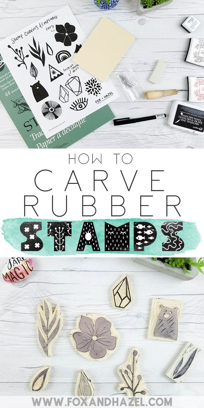 How To Diy Hand Carved Rubber Stamps Fox Hazel Hand Carved Rubber Diy Stamp Hand Carved Stamps