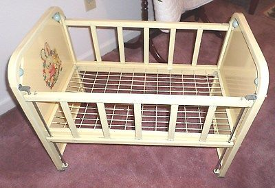 Vintage AMSCO Doll E Crib Doll Crib 1950's Metal Drop Gate Wooden ...