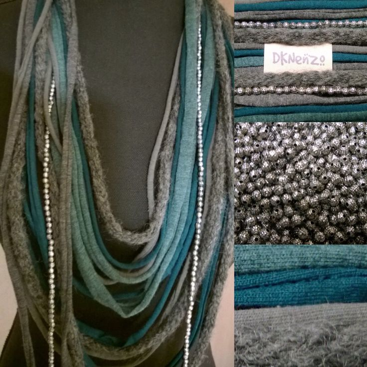 Sjaal Ketting, Blauwgroen en Grijstinten, grijs wollen item en 1 losse barokke zilverkleurige Kralenketting door DKNenzo op Etsy