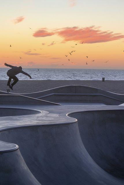 Cool Skateboard Park in Venice Beach, California.