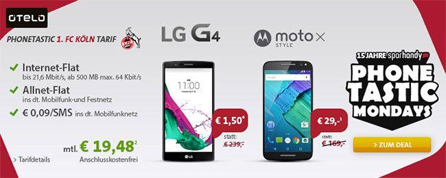 1.FC Köln 500MB Vodafone Allnet Flat mit LG G4 oder Moto X Style ab 1,50€ http://www.simdealz.de/vodafone/1-fc-koeln-tarif-mit-smartphone/