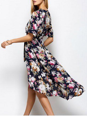 $24.20 V Neck Front Slit Floral Maxi Surplice Dress