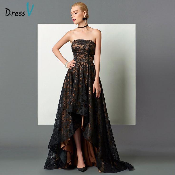 US $102.59 -- Dressv черный без бретелек длинное вечернее платье line асимметрия спинки рукавов кружева вечерние платья высокий низкий формальное вечернее платье купить на AliExpress