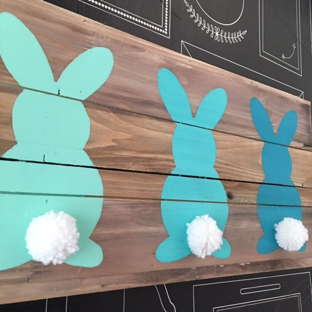 Create this Ombre Easter Bunny Wood Board Art in minutes! All you need is a wood board, acrylic paint and pom-poms!