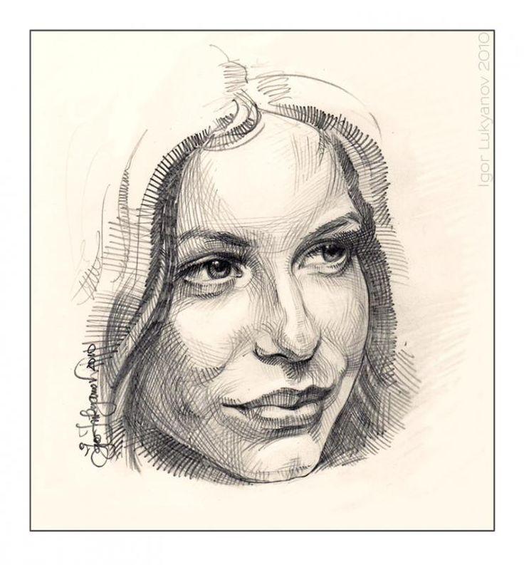 """Portrait of a pretty woman"" - WetCanvas.com     Crosshatching"