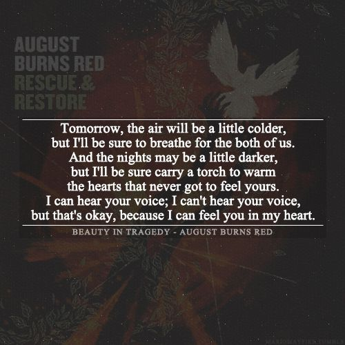 August burns red beauty in tragedy another song that brings me to tears this part means so much to me and I so relatable