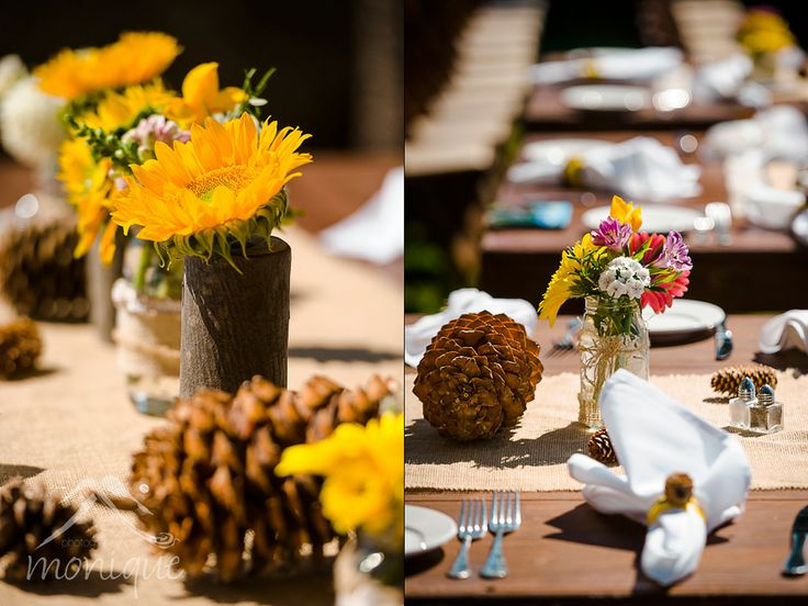Thunderbird Lodge wedding at Lake Tahoe sunflowers and pinecones used as centerpieces #laketahoewedding #laketahoephotographer © www.tahoeweddingphotojournalism.com