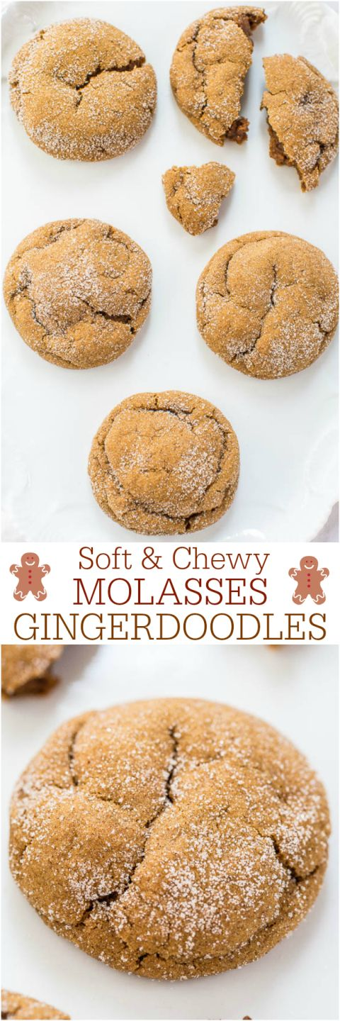 Soft and Chewy Molasses Gingerdoodles - 3 favorites combined! Soft molasses cookies, chewy gingerbread and crinkly snickerdoodles! So good!!