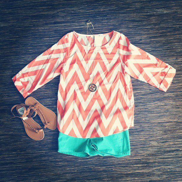 Orange Chevron and turquoise... LOVE THIS!!!!