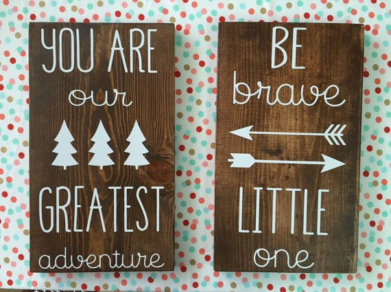 Price includes both signs. Perfect for any Aztec, woodland or rustic themed nursery or bedroom. Each sign measures 9 1/2X 16 and is made with
