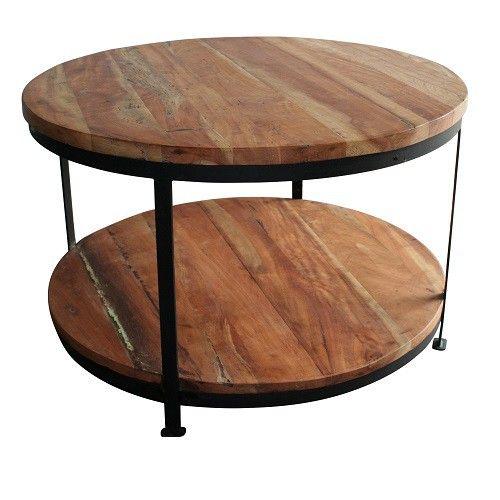 Deze salontafel is een stoere tafel uit de vintage collectie. De salontafel heeft een zwart frame met 2 licht houten (mango) houten bladen.  De afmeting zijn: doorsnede 75cm hoogte 45 cm