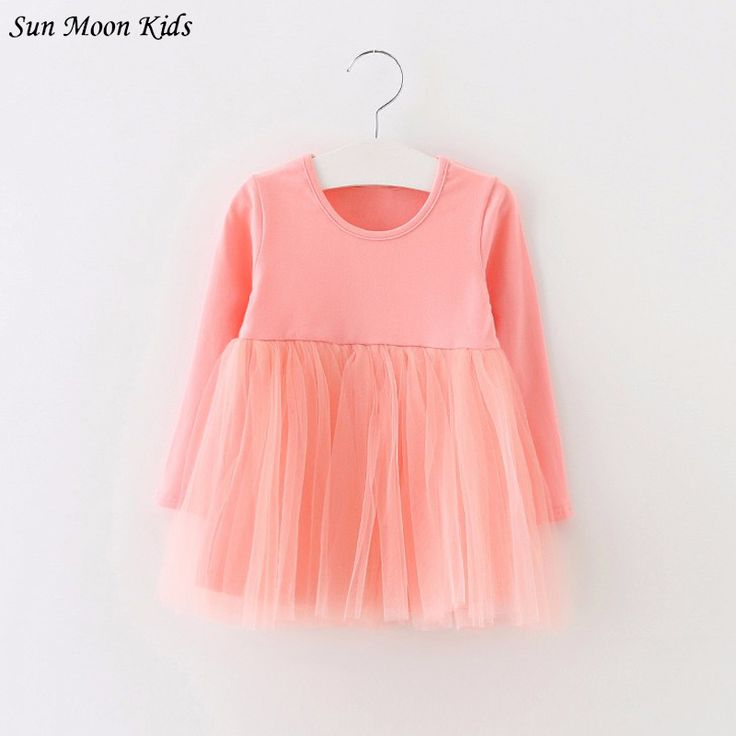 Cool Sun Moon Kids Full Sleeve Baby Dress 2017 Cotton 1 Year Birthday Dress Casual Solid Baby Girl Clothes Draped Princes Ball Gown - $17.46 - Buy it Now!