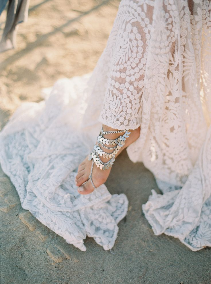 beach wedding sandals - http://ruffledblog.com/malibu-coastal-bohemian-wedding-inspiration