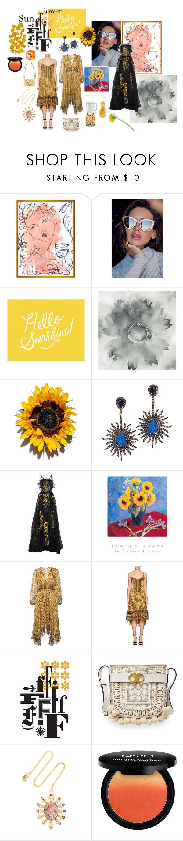 """Sunflower"" by sarahhughes-net on Polyvore featuring Leslie Weaver, Pottery Barn, Plukka, Rahul Mishra, Ulla Johnson, Mark & Graham, Chanel, Tory Burch, Daniela Villegas and NYX"