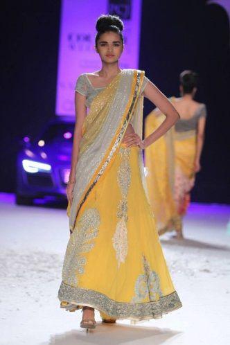 A model walks the ramp for Varun Bahl