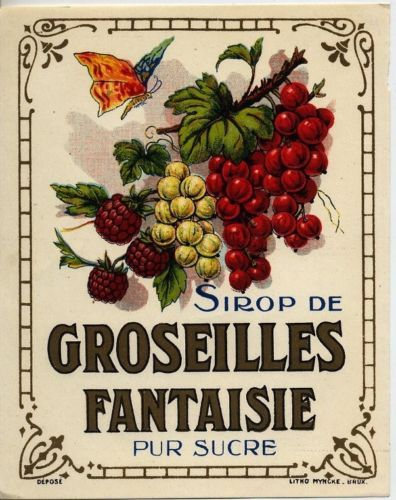 Sirop de Groseilles Fantaisie - Vintage drink label