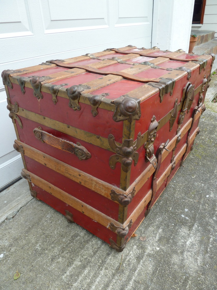Wood Chest Trunk Shabby Chic