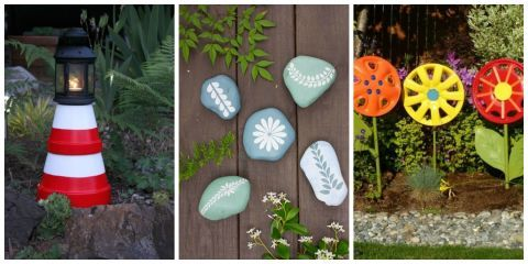 Lush greenery and colorful blooms are the perfect backdrop for these cheeky crafts.