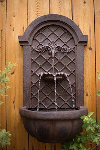 The Manchester   Outdoor Wall Fountain   Weathered Bronze   Water Feature  For Garden, Patio And Landscape Enhancement