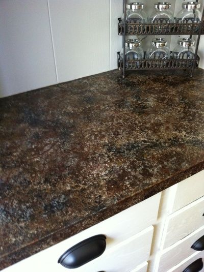 Painted Formica Countertop DIY - trying this out on the rental countertop this weekend!  Yikes!