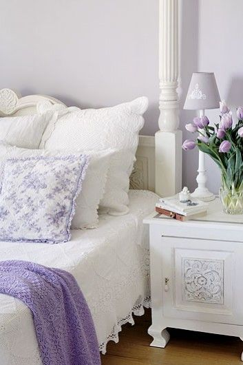 White and Lilac Shabby Chic bedroom. Love The Detail On The Night Stand. Love The Bed. Romantic......