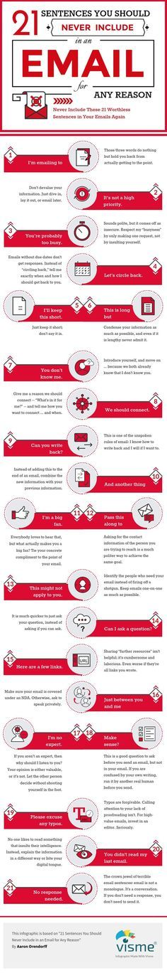 Email Marketing Tips: 21 Sentences You Should Never Include in an Email #Infographic  http://bloggerkhan.com