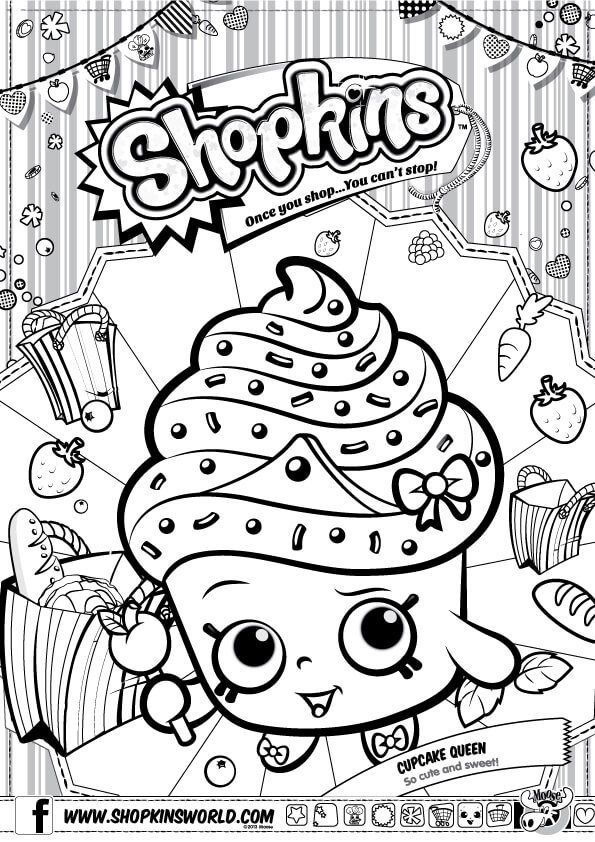Shopkins Coloring Pages Season 1 Cupcake Queen Shopkins