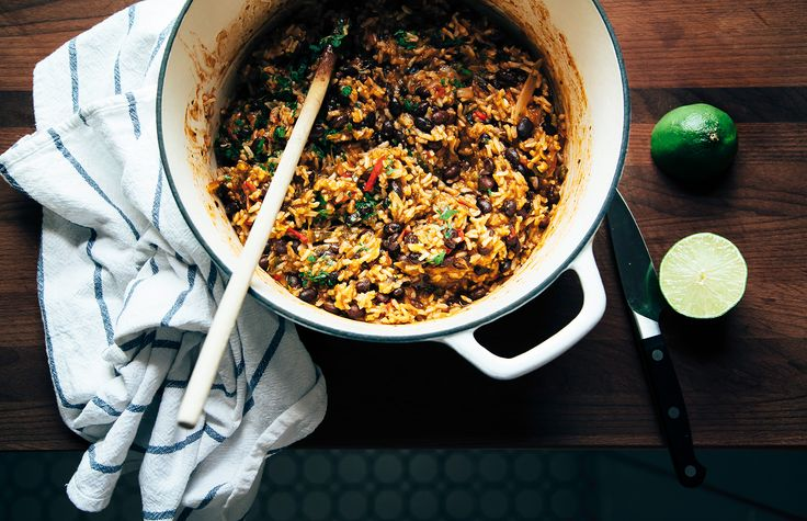 Black beans and rice with roasted poblanos