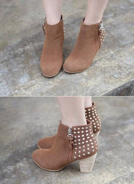 Back Studded Ankle Boots by Miamasvin