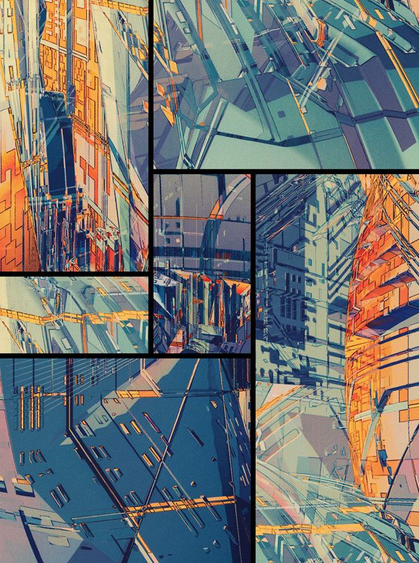 cropped views of the city pieces together to form a composition - image inspiration OUTPOST by atelier olschinsky , via Behance