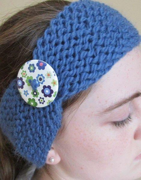 Cornflower Blue Knit Headband with flower button from Donnelly Knitwear by DaWanda.com