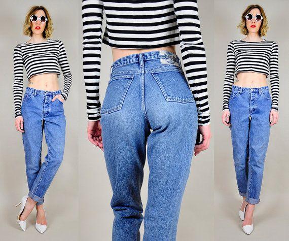 Vintage 90's High waist SKINNY jeans Esprit faded wash Denim Tight ankle Grunge sm / med